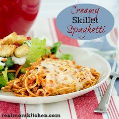 beef/italian sausage sauce/cream  cheese Creamy Skillet Spaghetti - Real Mom Kitchen