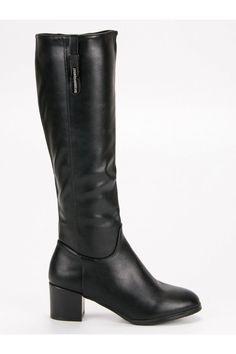 Klasické čierne čižmy nad koleno Groto Gogo Riding Boots, Heeled Boots, Platform, Heels, Fashion, Horse Riding Boots, High Heel Boots, Heel, Moda