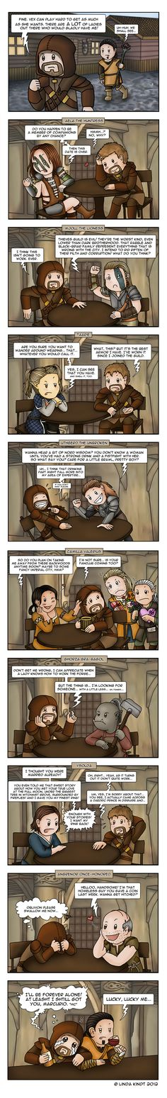 Skyrim Dating by *Isriana on deviantART Funny stuff, but I can't stand Vex. My girl usually marries Marcurio cuz he's the cutest; guy marries Ysolda cuz she's sweet and dumb ; Skyrim Comic, Skyrim Funny, Scrolls Game, Elder Scrolls Skyrim, Gaming Memes, Gamer Humor, Man Humor, Mass Effect, Funny Games