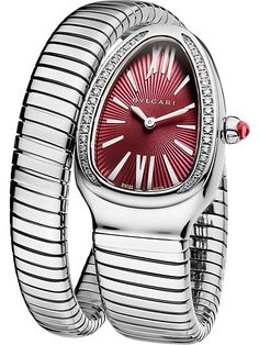 """BVLGARI """"Serpenti"""" Tubogas pink-gold, stainless steel and diamond watch Bvlgari Gold, Bvlgari Serpenti, Stainless Steel Jewelry, Stainless Steel Watch, Bulgari Jewelry, Diamond Jewellery, Gold Jewelry, Snake Jewelry, Jewelry Accessories"""