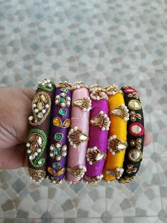 Silver Bracelets for teens – My All Pin Page Silk Thread Bangles Design, Silk Bangles, Silk Thread Earrings, Bridal Bangles, Thread Jewellery, Fabric Jewelry, Silver Bracelets, Beaded Jewelry, Handmade Jewelry