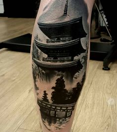 Awesome Tattoos for Men and Women Superbes tatouages pour hommes et femmes Asian Tattoos, Leg Tattoos, Body Art Tattoos, Tattoos For Guys, Cool Tattoos, Awesome Tattoos, Japanese Temple Tattoo, Japanese Tattoo Art, Japanese Sleeve Tattoos