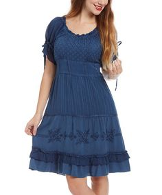 Another great find on #zulily! Royal Blue Embroidered Peasant Dress by Sacred Threads Boutique #zulilyfinds