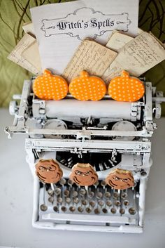 LOVE this vintage typewriter at a Haunted Halloween Party via Kara's Party Ideas - The Place for All Things Party! #halloweenparty #vintagetypewriter
