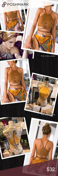 Boho halter / tank top Boho vintage inspired. It's a deep/rich yellow.  Not as bright as pics. Earth tones, mustard. Tribal lace wrap halter. Faux suede textured. Adorable with a bohemian skirt or pull out the distressed Jean skirt and some flip flops! gypsi Tops