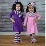 Purple and Gray Stripe 3pc Boutique Outfit  only $16.99 www.gabskia.com
