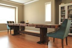 Our DIY Dining Table built by B. 12' long from Douglas Fir. Custom built to fit our extra large dining room.