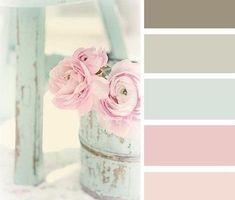 Lovely shabby chic color palette- would make great colors for girl nursery. #shabbychicdecorlivingroom #DIYHomeDecorShabbyChic