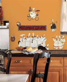 Italian Fat Chef Kitchen Decor Wall Stickers, peel and stick decals