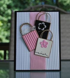 Handmade Greeting Card: Gift Card Holder, Birthday card, Greeting Card, Anniversary Card, Pink & Black Card, Feminine Card, Teen Card