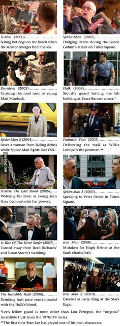 Stan Lee Appearances In Marvel Movies <--- They forgot the appearance in Avengers!<---- Ah, ah, ah, he is on where the tv is on the news about New York being saved by the avengers.