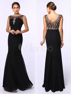 robe de soire sirne fendue de col bateau noir avec strass milanoocom - Milanoo Robe De Soiree Pour Mariage