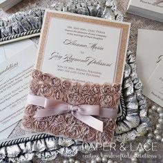 ALANNA Rosette Lace Wedding Invitation Lace by PaperLaceBoutique