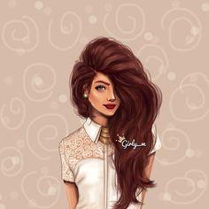 Elegant Girl, Voluminous Long Hair / Ragazza elegante, Capelli voluminosi e lunghi - Art by girly_m, on Websta (Webstagram)