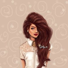 Elegant Girl, Voluminous Long Hair / Ragazza elegante, Capelli voluminosi e lunghi - Art by girly_m, on Websta (Webstagram)
