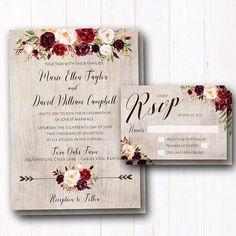 Burgundy Wedding Invitation Wine Floral Suite Rustic
