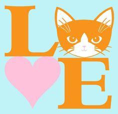 Aime les chats en Orange et rose 8 x 10 Art Print