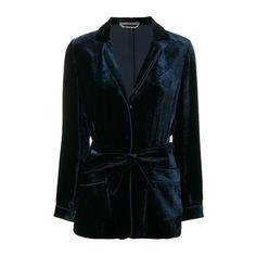 ALBERTA FERRETTI Velvet Blazer (64.145 RUB) ❤ liked on Polyvore featuring outerwear, jackets, blazers, blazer, blue, blazer jacket, alberta ferretti, blue velvet blazer, blue blazer jacket and alberta ferretti jacket
