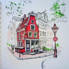 Амстердам, дом с аистом, линером и маркерами, хоть в чб может было и лучше:) | Школа рисования для взрослых Вероники Калачёвой — Kalachevaschool | Обучение вживую в Москве и онлайн по всему миру