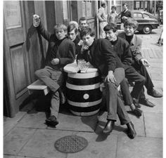 """BRIAN JONES, IAN STEWART, BILL WYMAN, KEITH RICHARDS, MICK JAGGER, & CHARLIE WATTS One of their first photos as """"The Rolling Stones"""" back in 1962"""