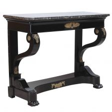 Second Empire Ebonized Console with Ormolu Mounts and Negro Marquina Marble Top Antique Console Table, Console Tables, Antique Tables, Table Furniture, Antique Furniture, Furniture Storage, Roman Artifacts, Narrow Table, Second Hand Furniture