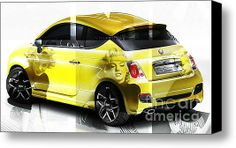 The Fiat 500 And Marylin Monroe Stretched Canvas Print / Canvas Art By Marvin Blaine