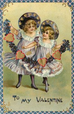 """""""To my Valentine"""" (1912. Embossed) Two girls hold garland of hearts and violets."""