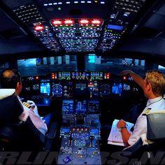 cockpit #Cockpit Airbus A380-800 Illuminated Cockpit