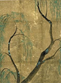尾形光琳 「柳図香包」 江戸中期 細見美術館蔵 Japanese Painting, Chinese Painting, Japanese Screen, Japan Illustration, Plant Painting, Japan Art, Japanese Artists, Outsider Art, Flower Art