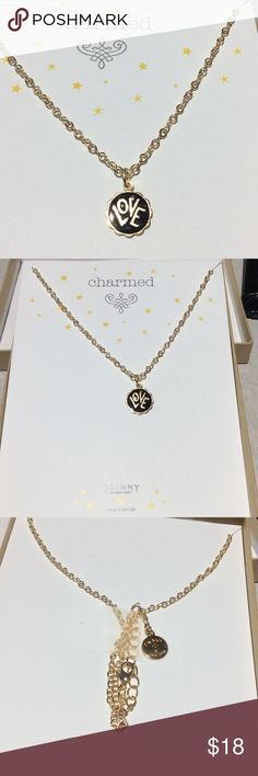 """LOVE Charm Necklace by Jessica Elliot Gold with black enamel    Measures 5/8"""" wide x 1/2"""" tall ( from top of o ring) chain length is 16"""" plus a 2"""" extender     Brand new comes in a box already for a Mother's Day gift Jessica Elliot Jewelry Necklaces"""