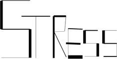 Woord: STRESS Het gevoel/woord wordt gevisualiseerd door lijnen en punten. Het geeft het gevoel van het woord weer door middel van verschillende diktes en lengtes in de lijnen, de onregelmatige plaatsing van de letters en woorden.