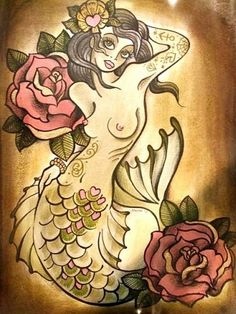 mermaid tattoo - love the american traditional style. I'd cover her boobies up though! Haha But other that I'd get it in a heartbeat.