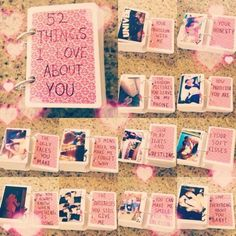52 Things I Love You About. What a simple and romantic gift idea for Valentines Day. Your man can always look back on these cards to know how much you care for him. http://hative.com/cute-valentines-day-ideas/