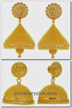 Gold Buttalu earrings designs by Prince jewellery - Latest Jewellery Designs Latest Earrings Design, Gold Earrings Designs, Designer Earrings, Jewellery Designs, Gold Designs, Gold Hanging Earrings, Gold Jhumka Earrings, Round Earrings, Gold Necklace