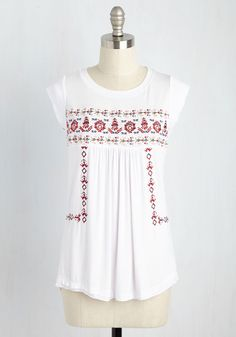 Hum Back Anytime Top. As you whistle, sing, and strum your way through tour, fans give feedback that this white top is what made the show! #white #modcloth
