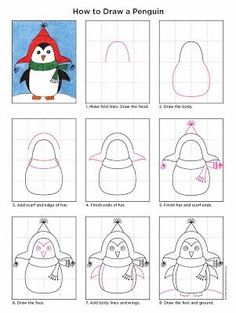 Cute Penguin Drawing · Art Projects for Kids Penguin Drawing, Penguin Art, Drawing Lessons, Art Lessons, Drawing For Kids, Art For Kids, Drawing Art, Drawing Ideas, Cool Art Drawings