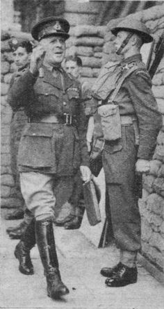 John Vereker, 6th Viscount Gort, High Commissioner of the British Mandate of Palestine (present-day Israel and Palestine) from November 1st 1944 - November 5th 1945. This photo shows him as Commander of the British Expeditionary Force returning to the war shortly after he and the BEF were evacuated as part of the Battly of Dunkirk. The British Mandate for Palestine entered the war on September 3rd 1939 with the British Empire. http://www.historyofwar.org/Pictures/pictures_lord_gort.html