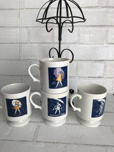 "Morton Salt Girl Coffee Mugs and Umbrella Mug Tree Vintage ""When it Rains it Pours"""