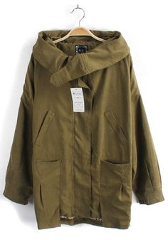 Army Green Collar With Hat Cotton Trench Coat: