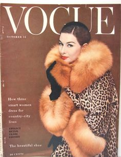 Just love this simplicity of the patterns & colors of this 1955 vintage VOGUE cover, though she is wearing real leopard fur, I'm sure...