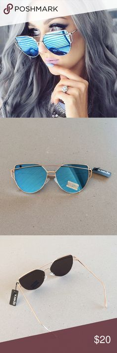 COMING SOON! Cat Eye Oversized Sunnies Love these cat eye oversized frosty blue & gold sunnies! NWT 😎☀️💙 Available for reservation upon request. Accessories Sunglasses