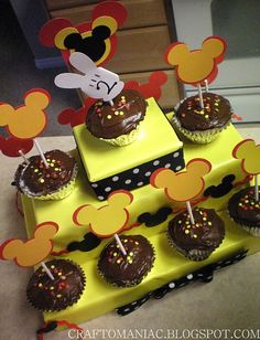 Mickey Cupcake Toppers and Cupcake Stand