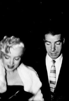 """ Marilyn Monroe and Joe DiMaggio heading to Jackie Gleason's birthday party, 1955. """