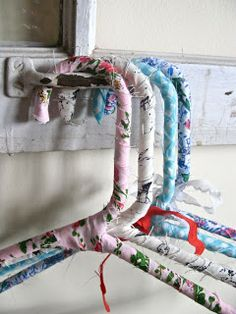 Fabric Wrapped Hangers.  Simple Handmade Gifts – via One Good Thing by Jillee, Part Three. Made from white plastic hangers you can get by the dozen at discount store. Cover in strips of cute fabric. Tie a satin or lace bow at the neck.