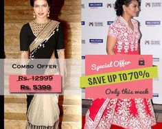 Combo Offer Of Designer Bollywood Embroidered Black Saree And Pink Suit