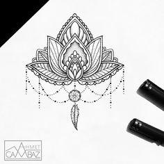 Let the ink blow your mind. Mandala Tattoo Design, Dotwork Tattoo Mandala, Sternum Tattoo, Tattoo Design Drawings, Lotus Tattoo, Baby Tattoos, Mini Tattoos, Tattoos For Women Small, Tattoos For Guys