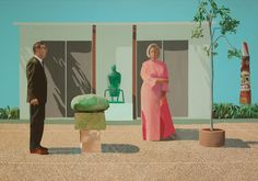 David Hockney. American Collectors (Fred and Marcia Weisman), 1968. Restricted gift of Mr. and Mrs. Frederic G. Pick. © David Hockney.