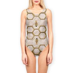'LIGHT BEE ABSTRACT.' Swimsuits by SANA90 on miPic Swimsuits, Swimwear, Bee, Bodysuit, One Piece, Abstract, Image, Tops, Women