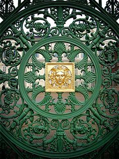 green wrought iron gate