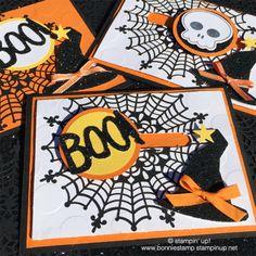 Slider cards for Halloween! #spiderwebdoilies #howloweentreat bundle www.bonniestamp.stampinup.net
